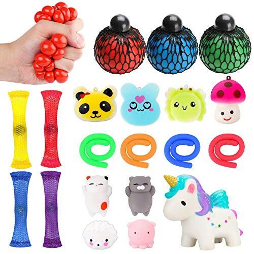 WATINC 20 Stück Kawaii Anti Stress Spielzeug Set Anti-Stress-Bälle Duftende Squeeze Spielzeug Bunte Stretch String Mochi Tierisch Toys für Kinder Erwachsene ADD ADHS Das Büro