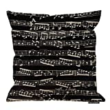 HGOD DESIGNS Black and White Music Notes Throw Pillows Throw Pillow Case Cushion Cover Pillowcase Square Pillow Cover 18X18 Cotton Linen