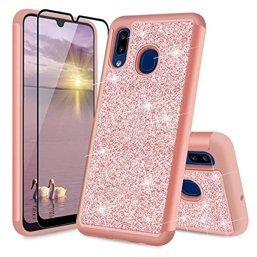 TJS Phone Case Compatible with Samsung Galaxy A20/Galaxy A30, with [Full Coverage Tempered Glass Screen Protector] Glitter Bling Cute Girls Women Design Dual Layer Heavy Duty Hybrid Cover (Rose Gold)