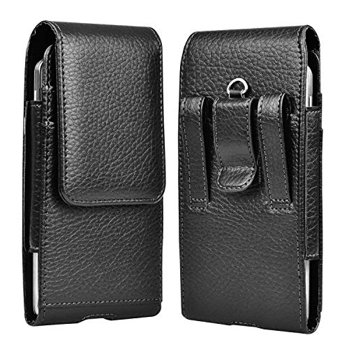 Takfox Phone Holster for Samsung Galaxy S20 S10 S10e S9 S8 S7 Edge,Note 10 Note 9 Note 8,A10e A20 A30 A50, J7 J3 Cell Phone Belt Clip Holster Premium Leather Carrying Phone Pouch w Card Holder,Black