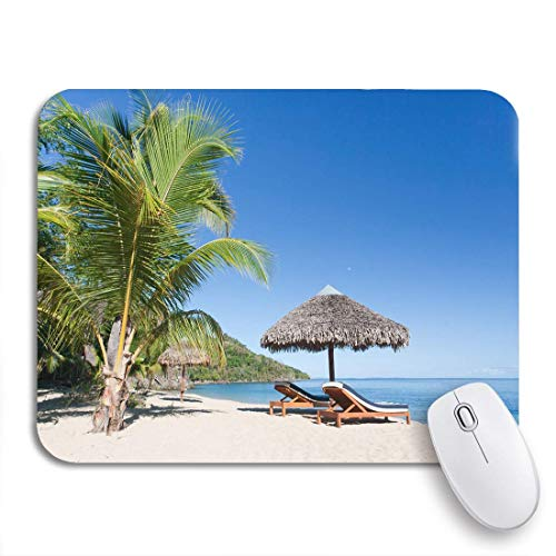 N\A Gaming Mouse Pad Tropical Beach Landscape Tumbona y sombrilla de Nosy Be Antideslizante Respaldo de Goma Computer Mousepad para Cuadernos Alfombrillas de ratón