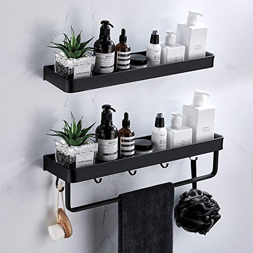 Mensola Doccia Adesiva Mensola Bagno Senza Foratura con Porta Asciugamani e Gancio, Alluminio Mensola per Bagno e Cucina Nero 2 Pezzi