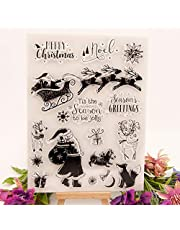 Welcome to Joyful Home 1pc Santa Sled Christmas Clear Stamp for Card Making Decoration and Scrapbooking