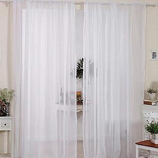 comprar comparacion 2pcs cortinas visillo decoración de ventana visillo con anillas integradas (Draperie suave Elégant románticas, blanco, 140...