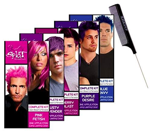 Splat Rebellious Colors 'The Original' Semi-Permanent Hair Color Complete Kit Dye (w/Sleek Comb) Haircolor with Bleach & Developer Peroxide (PURPLE DESIRE)