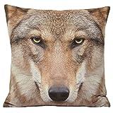 Riva Home - Funda cojín Lobo Modelo Animal (45x45cm) (Multicolor)