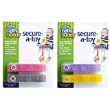 Baby Buddy Secure-A-Toy, Safety Strap Secures Toys, Teether, or Pacifiers to Strollers, Highchairs, Car Seats— Keep Toys Sanitary Clean, 4 Count, Girls Colors (Colors May Vary)