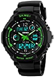 Fanmis Military Analog Digital Display Multifunction Dual Time Alarm Stopwatch Backlight 50M Waterproof Sports Watch Green