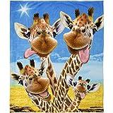 Dawhud Direct Giraffe Selfie Super Soft Plush Fleece Throw Blanket
