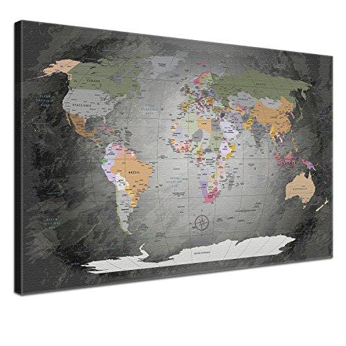 """LANA KK - Weltkarte Leinwandbild mit Korkrückwand zum pinnen der Reiseziele – """"Worldmap Edelgrau"""" - französisch - Kunstdruck-Pinnwand Globus in grau, in 120x80cm"""