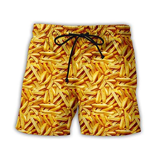 Shorts Männer Strand Hosen 3D Pommes gedruckt Badehose Quick Dry Badeanzüge für Board Badehosen Casual Urlaub im Freien, M