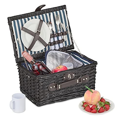 Relaxdays Picknickkorb für 2 Personen, 11-TLG. Picknick Set, Picknickgeschirr, Kühlfach, Weidenkorb mit Henkel, schwarz