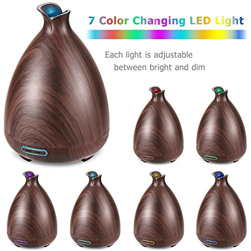 URPOWER Essential Oil Diffuser 150ml Wood Grain Ultrasonic Aromatherapy Oil Diffuser with Adjustable Mist Mode Waterless Auto Shut-off Humidifier and 7 Color Changing LED Lights for Home Office Baby