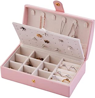 Naswei Travel Jewelry Box Portable Jewelry Organizer Storage Case Accessories Holder Pouch with Environmental Faux Leather...