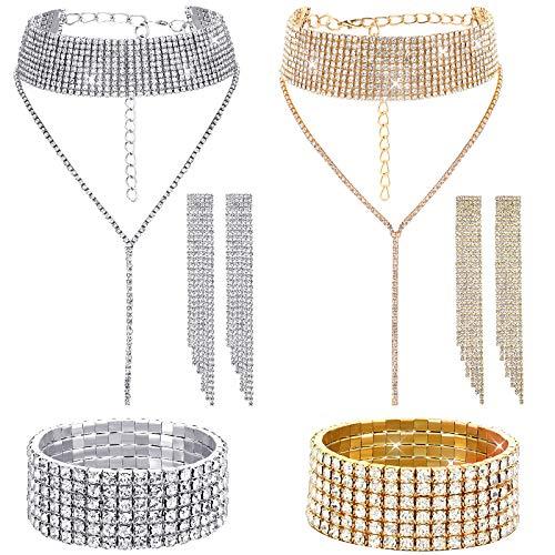2 Sets Women Rhinestone Crystal Jewelry Set Glitter Rhinestone Stretch Bracelet Necklace Dangle Fringe Earrings (Gold, Silver)