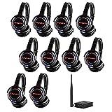 AYVVPII Rechargeable Wireless Silent Disco Headphones RF LED Flashing Light Headset 10pcs Headphones Bundle and 1 Transmitter 500m Distance
