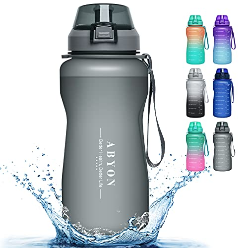 Large 1 Gallon Motivational Water Bottle with Paracord Handle & Removable Straw - BPA Free Leakproof Water Jug with Time Marker to Ensure You Drink Enough Water Throughout the Day (M6-Gray)