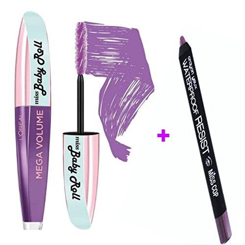 L'Oreal / Miss Cop Set aus Mascara und Eyeliner-Stift für Volumeneffekt, verstärkt und rollt die...