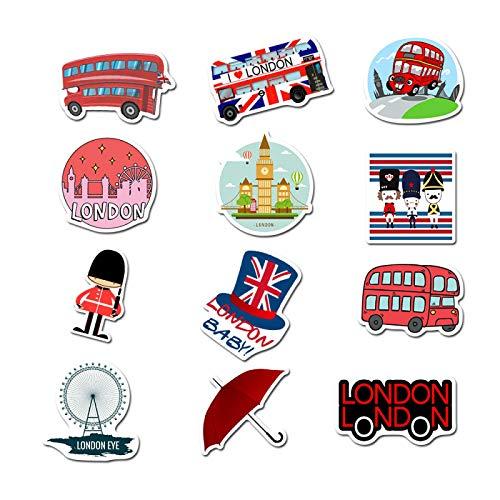 50 unids Londres Red Bus Teléfono Cabina Dibujos Animados Serie Personalizado Pvc Impermeable Etiqueta Equipaje Copa Agua Cuaderno Guitarra Casco Etiqueta