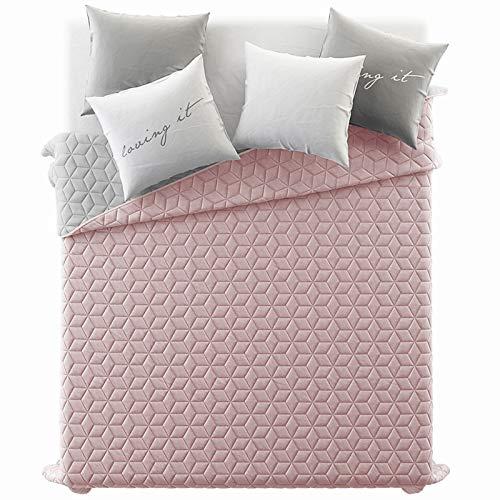 JEMIDI Bett und Sofaüberwurf XL Doppelbett gesteppt 220 x 240 Tagesdecke Überwurf Husse Decke XXL Tagesdecken Steppdecke gesteppt (Rosa/Hellgrau)