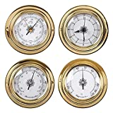 BEKwe Termómetro Higrómetro Barómetro Reloj Reloj Concha de Cobre Estación meteorológica