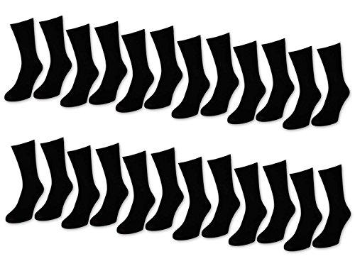 6 | 12 | 24 Paar Socken Herren Schwarz Baumwolle (39-42, 24 Paar | Schwarz)