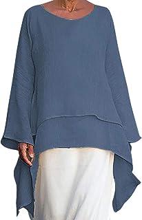 acfc3495dc0f TnaIolral Women Blouse Plus Size Irregular Summer Linen Long Sleeve Crew  Neck T-Shirt Beige