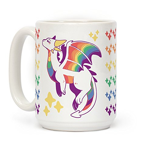 LookHUMAN Gay Pride Dragon White 15 Ounce Ceramic Coffee Mug