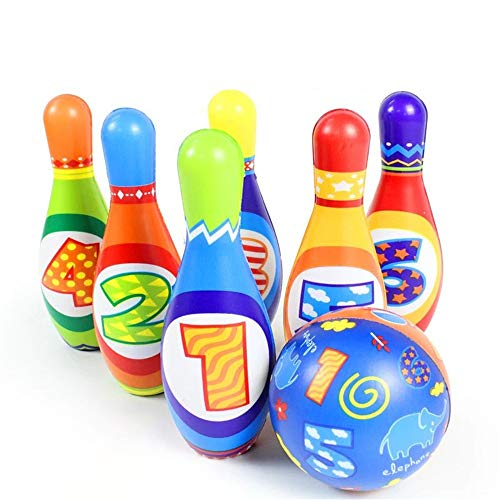 Buy Discount KMCMYBANG Bowling Toy Bowling Toy Set Game Colorful Plastic Bowling Ball Pins Party Fav...
