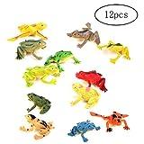 Newin star 12 Stück Kunststoff-Frosch-Modell-Set Bunte Simulation Frosch Mini Educational Frosch Tier-Spielzeug für Kinder, Kinder -
