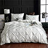 Erosebridal White Pinch Pleated Duvet Cover Set Twin Size Silk Like Satin Pintuck Bedding Set with Zipper Ruffle Design Luxury & Microfiber Comforter Cover Pintuck Decorative Bedspread Cover