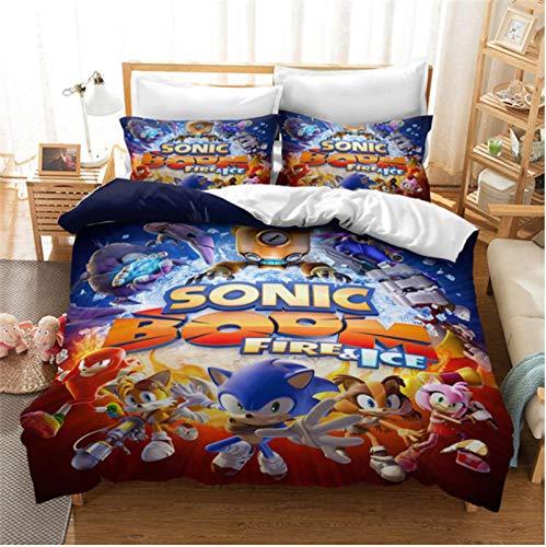Hanyyj Funda Nórdica Sonic The Hedgehog Anime Juego De Cama Personaje De Dibujos Animados 3D Traje De Tres Piezas 200X220Cm