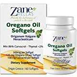 Zane Hellas Oregano Oil Softgels. The Highest Concentration in The World. Every Softgel Contains 25% Greek Essential Oil of Oregano. 108 mg Carvacrol per Softgel. 120 Softgels. Pack of 2.