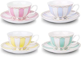 AWHOME Vintage Ceramic Teacup and Saucer Set 7 oz (Yellow Green Pink Blue)