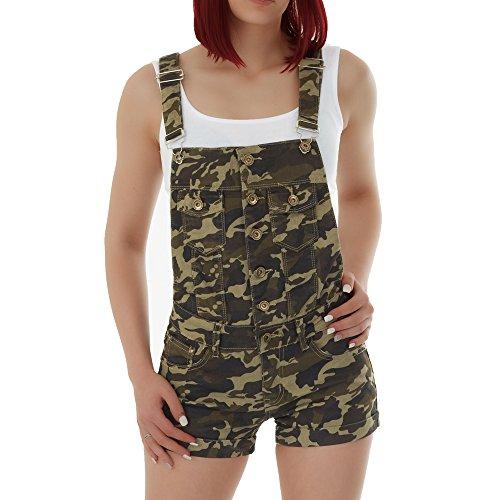 Malucas Damen Jeans Shorts Hotpants Kurze Hose Latzhose Jumpsuit Overall 00321, Größe:34, Farbe:Mehrfarbig