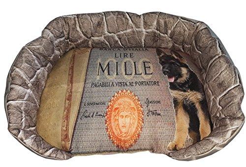 Hundehütte/Fußauflage für Tiere mit Schäferhund und Symbol Mille Lire, ein Single Stück 46x36x10 grün