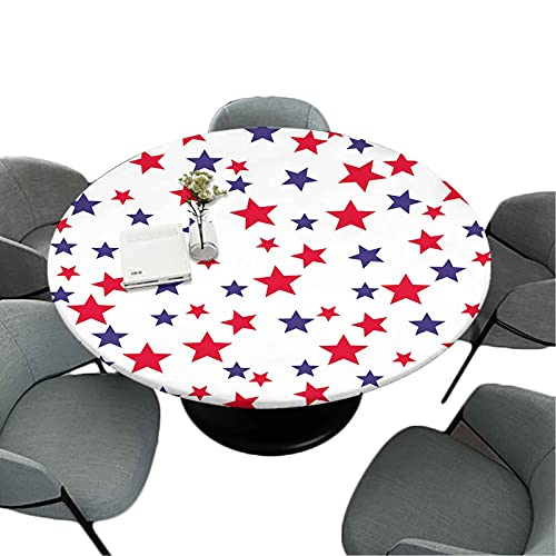 Elastic Edged Kitchen Tablecloth, 70 Inch Round Great for Buffet Table/Parties/Holiday Dinner, Patriotic Seamless Pattern with red White Blue Stars th of July Wrapping Paper