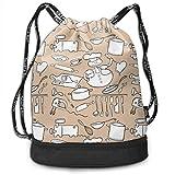 PmseK Mochila con Cordón,Bolsas de Gimnasia, Cooking Doodle Set Multifunctional Bundle Backpack Shoulder Bag For Men and Women