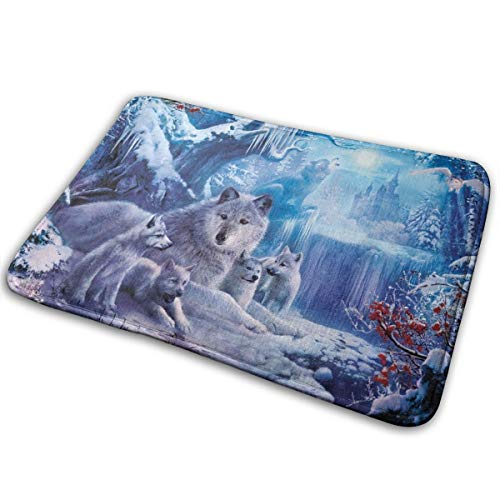 Handy Bathroom Rugs, Wolf Under Snowy Winter Non-Slip Bath Mats, Comfortably Best Absorbent Kitchen Carpet for Office Powder Room Door