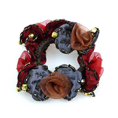 rougecaramel - Accessoires cheveux - Elastique chouchou cheveux ou bracelet perle fleur - multicolore