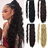 EMERLILY Clip in Ponytail Extension Long Wave Pony Tail Hair Extensions 22 Inch Wrap Around Ponytails for Women Dark Black
