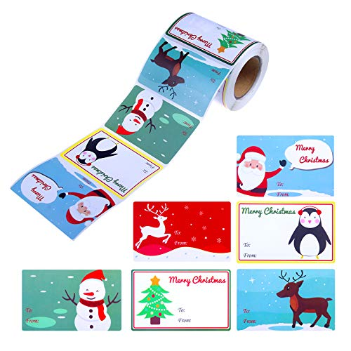 300 Pieces Christmas Gift Tags Christmas Name Tag Stickers Holiday Decorative Presents Tag Xmas Self Adhesive Name Tags