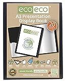 eco-eco eco005 A3 50% Reciclada 20 Bolsillo De Color Negro Presentación Libro de Exhibición