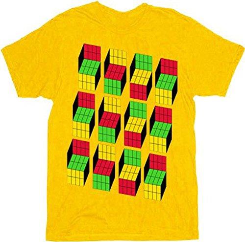 The Big Bang Theory Sheldon Cooper Opti Blocks Adult Mustard T-Shirt (Adult Large)