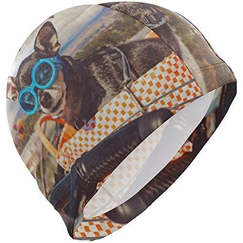 Quintion Robeson Vintage Cute Chihuahua Bike Basket Gorro de baño con Globo de Aire Caliente Gorro de baño Impermeable Gorro de baño sólido para Hombres Mujeres Adultos Jóvenes