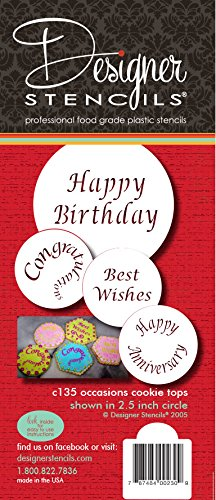 Designer Stencils Special Occasions Candy and Cookie Stencils (Congratulations, Best Wishes, Happy Birthday and Anniversary), Beige/semi-transparent