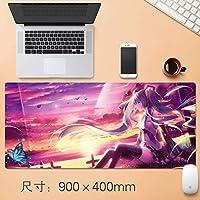 拡張大型マウスパッドアニメアニメ滑り止めラバーパッドゲーマーゲーミングマウスパッドキーボードコンピュータマット初音ミクスピードプレイマットのためにラップトップコンピュータやパソコンホームオフィス防水90 * 40センチメートル (サイズ : Thickness: 4mm)