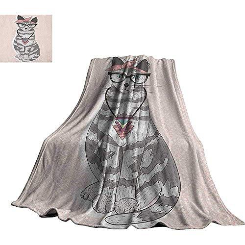mallcentral-EU Jugendzimmer, Babydecke Stilvolle Kitty Katze mit Brille Tribal Halskette Verschluss Fashion Design Print Decken
