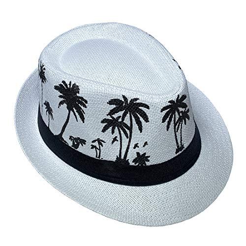 JK Home Sombrero de paja hawaiano Fedora para hombres y mujeres unisex Trilby Panamá Summer Sun Jazz Costume Party Cap, Mujer, 0807jk20020home, blanco, Talla única