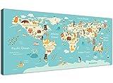 Wallfillers Animal carte du monde Atlas sur toile pour chambre à coucher pour enfants–Educational enfants...